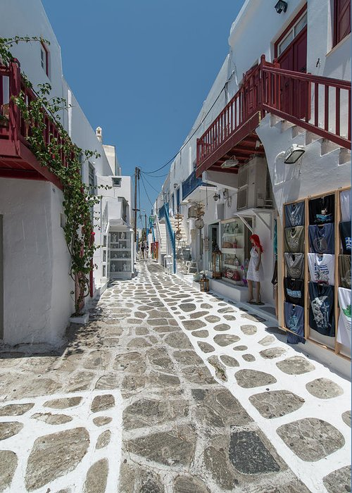 Greek Culture Greeting Card featuring the photograph Shopping Street In Mykonos by Ed Freeman