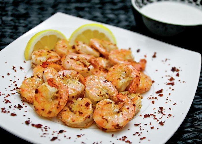 Savory Food Greeting Card featuring the photograph Shrimps With Chili by Wojciech Wisniewski