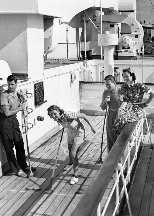 Heterosexual Couple Greeting Card featuring the photograph Shuffleboard Players by George Marks