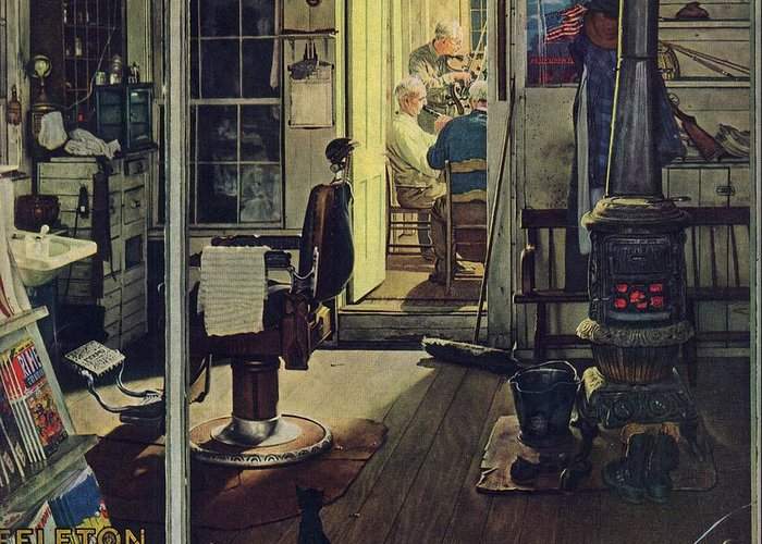 Barbers Greeting Card featuring the drawing Shuffleton's Barbershop by Norman Rockwell