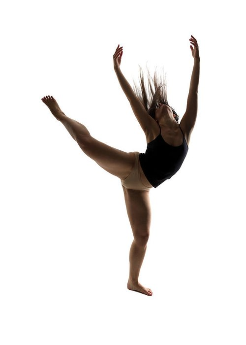 Ballet Dancer Greeting Card featuring the photograph Silhouette Of A Performing Dancer by Opla
