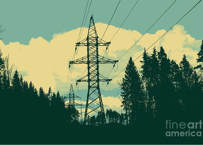 Transmission Tower Greeting Cards