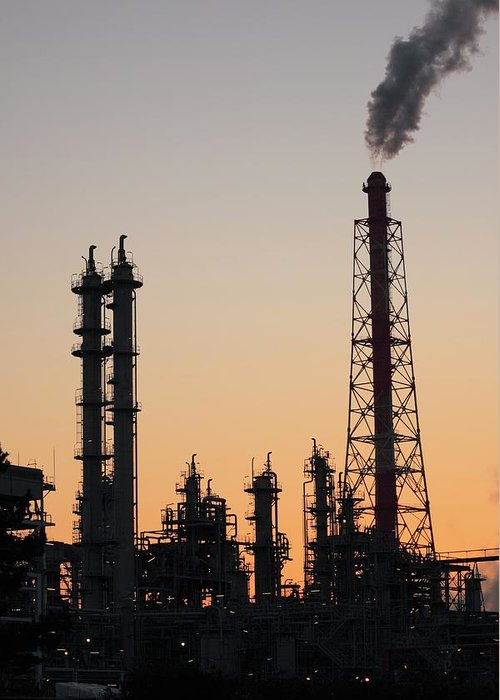 Built Structure Greeting Card featuring the photograph Silhouette Of Petrochemical Plant by Hiro/amanaimagesrf