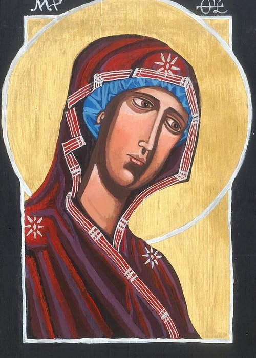 Icon Greeting Card featuring the painting Simple Mary by Kelly Latimore