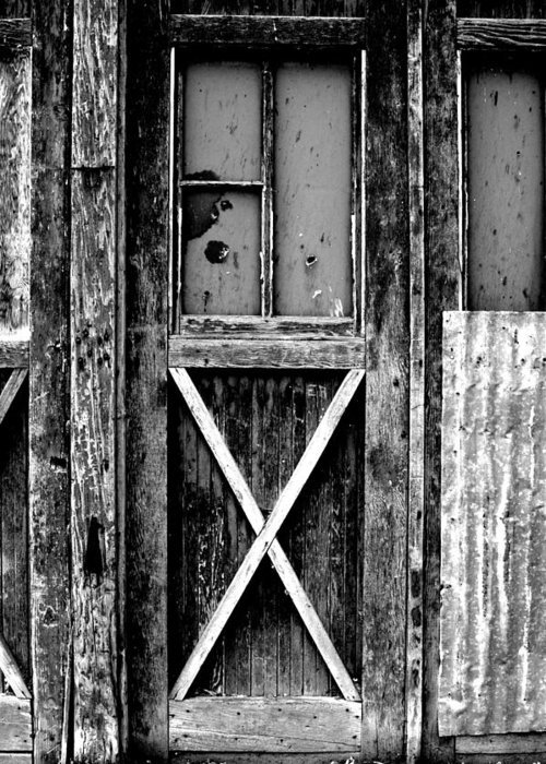 Black Color Greeting Card featuring the photograph Sinclair Door by Herlordship