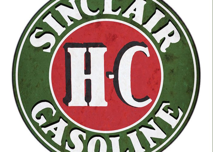 Sinclair Greeting Card featuring the drawing Sinclair Gasoline by Greg Joens