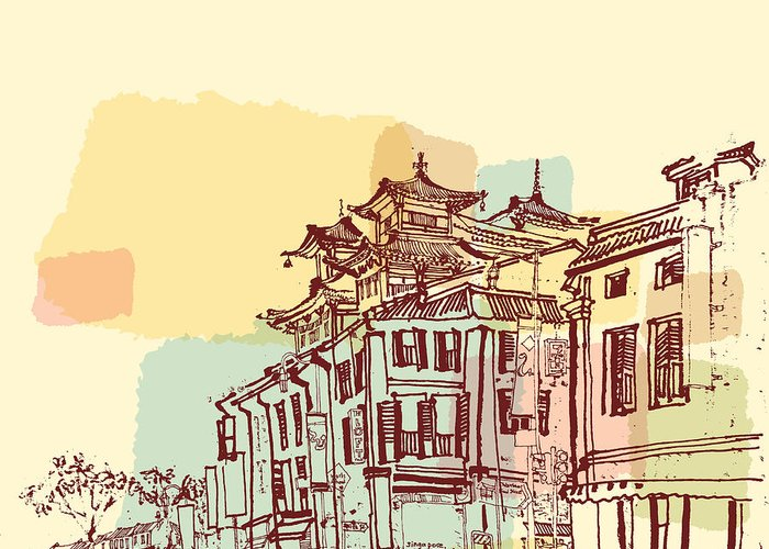 Relic Greeting Card featuring the digital art Singapore China Town Drawing. Vintage by Babayuka