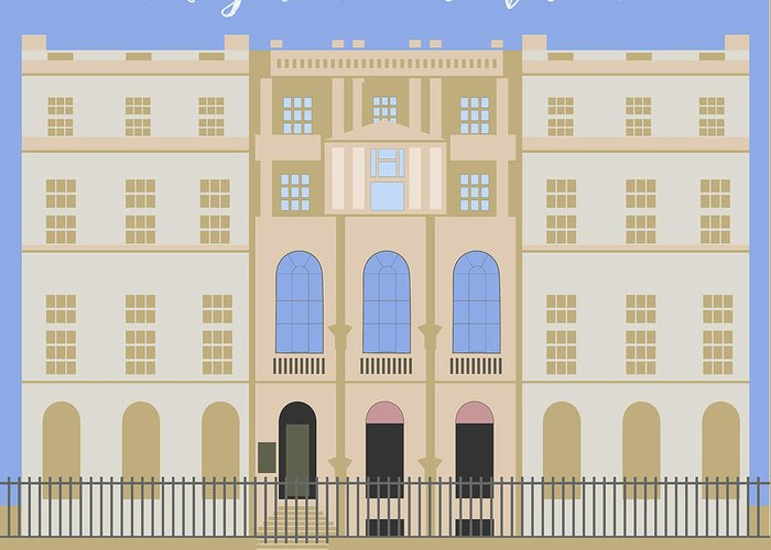 Blue Greeting Card featuring the digital art Sir John Soane's Museum by Claire Huntley