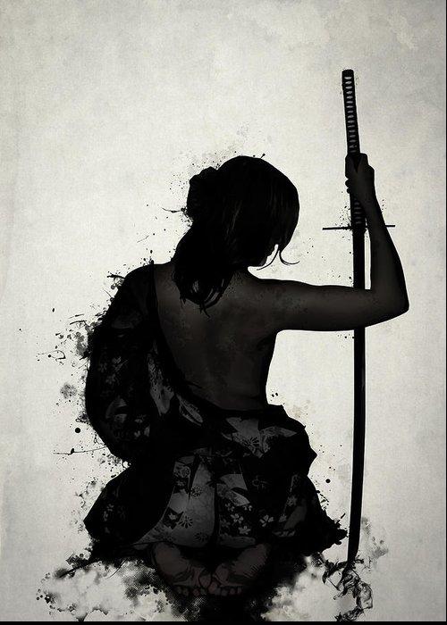 Female Greeting Card featuring the digital art Female Samurai - Onna Bugeisha by Nicklas Gustafsson
