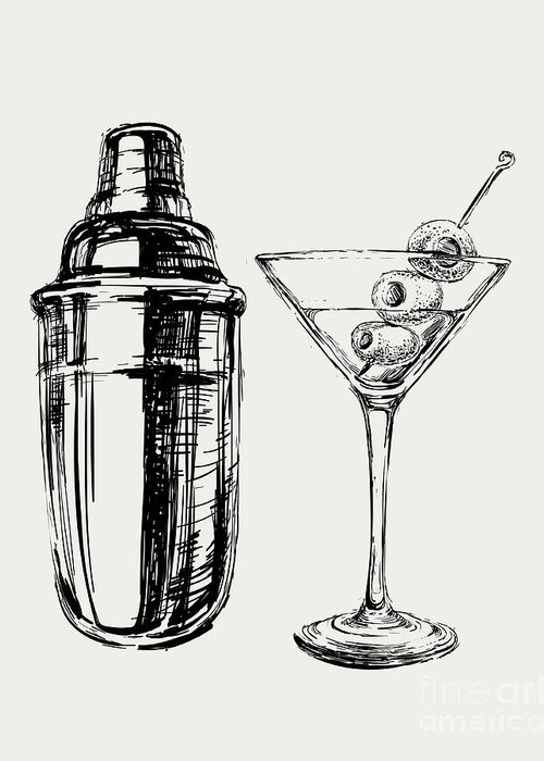 Symbol Greeting Card featuring the digital art Sketch Martini Cocktails With Olives by Mazura1989