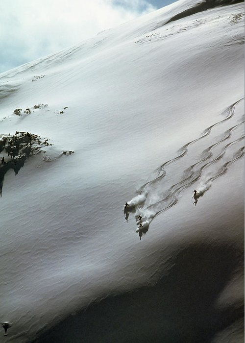 Shadow Greeting Card featuring the photograph Skier Moving Down In Snow On Slope by John P Kelly