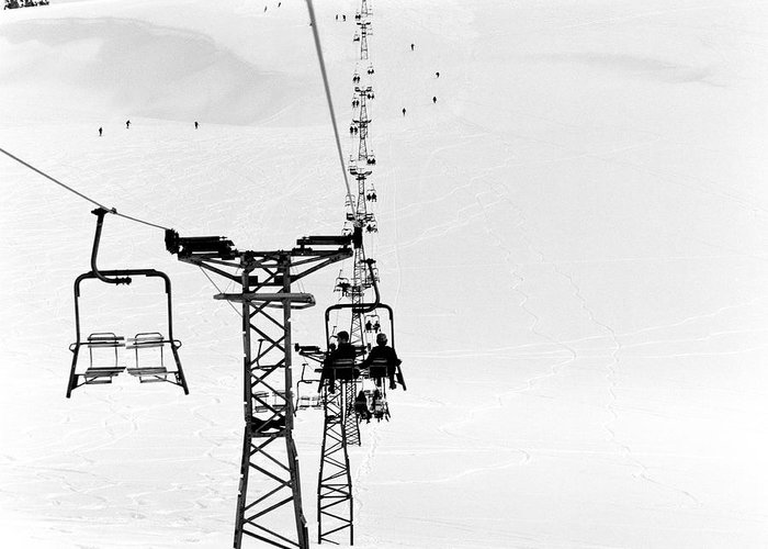 Skiing Greeting Card featuring the photograph Skiers On Ski Lifts, Farellones by Hans Neleman