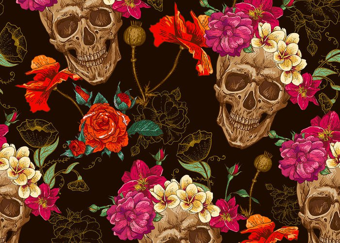 Symbol Greeting Card featuring the digital art Skull And Flowers Seamless Background by Depiano