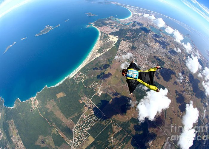 Altitude Greeting Card featuring the photograph Skydive Wing Suit Over Brazilian Beach by Rick Neves