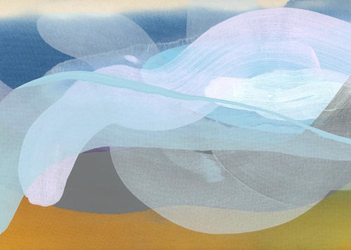 Abstract Greeting Card featuring the painting Sleep In Past 8 by Claire Desjardins