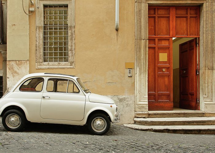 Steps Greeting Card featuring the photograph Small Coupe Parked Near A Doorway On A by S. Greg Panosian