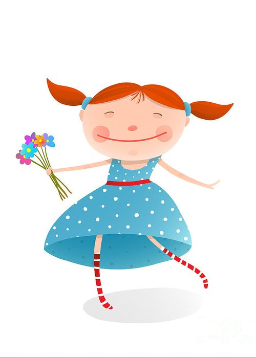 Small Greeting Card featuring the digital art Small Girl With Bouquet Of Flowers by Popmarleo