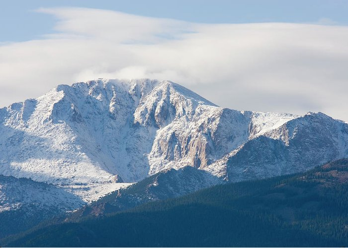 Extreme Terrain Greeting Card featuring the photograph Snowy Pikes Peak by Swkrullimaging