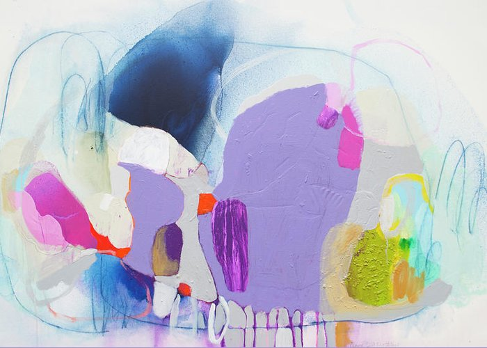 Abstract Greeting Card featuring the painting Sometime In June by Claire Desjardins