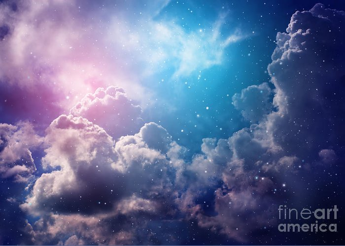 Cluster Greeting Card featuring the photograph Space Of Night Sky With Cloud And Stars by Nednapa