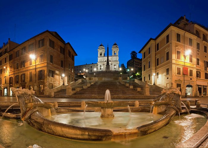 Steps Greeting Card featuring the photograph Spanish Steps Piazza Di Spagna Fontana by Fotovoyager