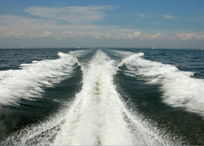 Scenics Greeting Card featuring the photograph Speed Boat Wake by Ishootphotosllc