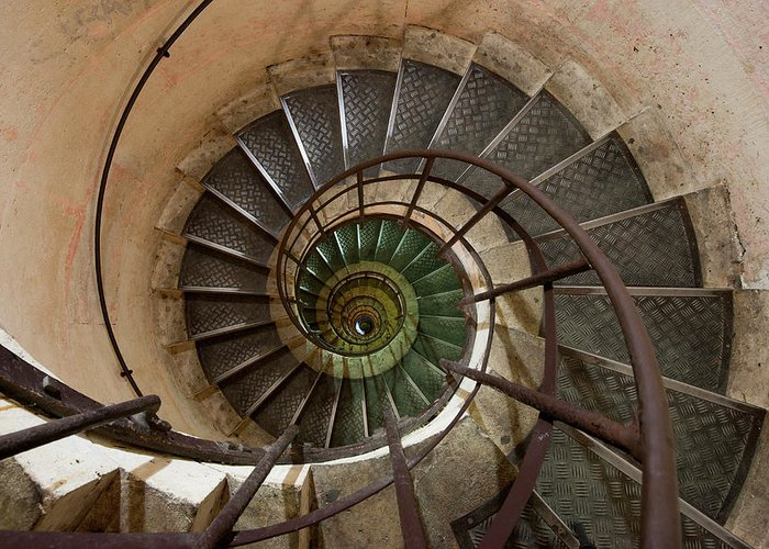 Built Structure Greeting Card featuring the photograph Spiral Staircase In The Arc De by Mint Images/ Art Wolfe