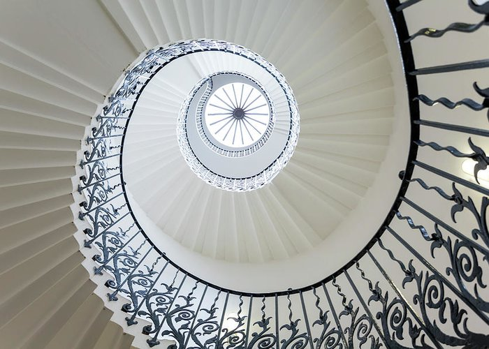 Queen's House Greeting Card featuring the photograph Spiral Staircase, The Queens House by Peter Adams