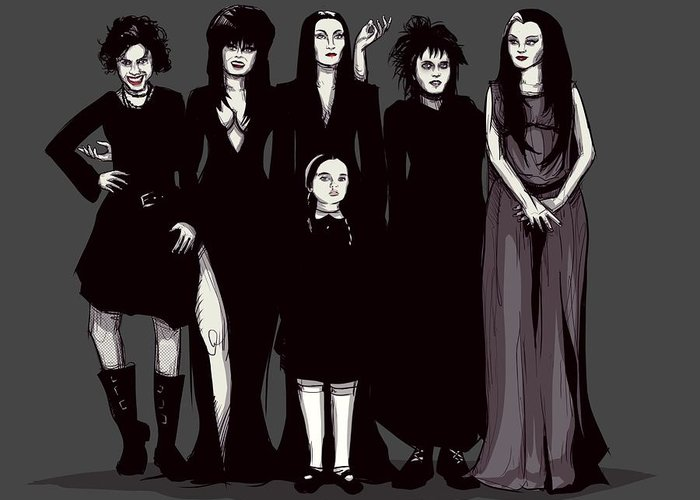 Craft Greeting Card featuring the drawing Spooky Girls by Ludwig Van Bacon