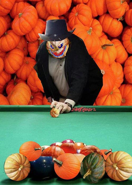 Spooky Pumpkin Pool Greeting Card featuring the digital art Spooky Pumpkin Pool by Seth Weaver