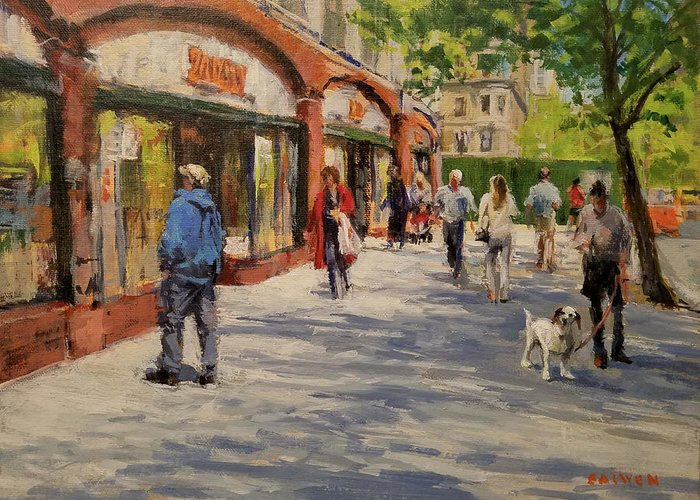 Urban Landscape Greeting Card featuring the painting Spring Morning Near Zabar's by Peter Salwen