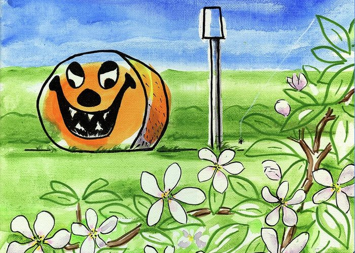 Halloween Greeting Card featuring the painting Spring-o-ween by Kevin Cameron