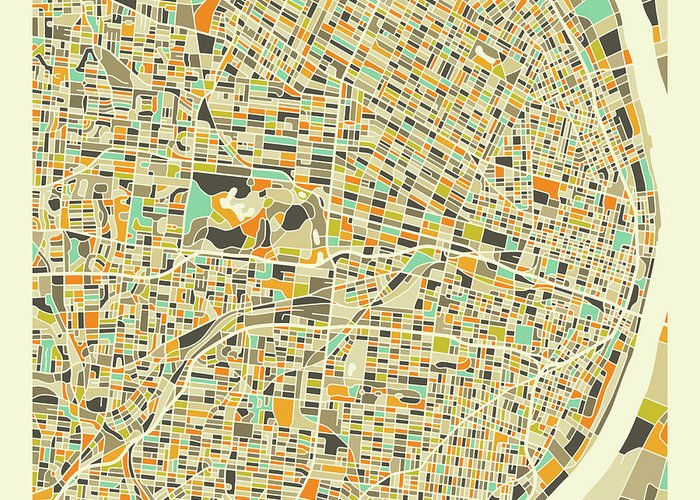 St Louis Map Greeting Card featuring the digital art St Louis Map 1 by Jazzberry Blue