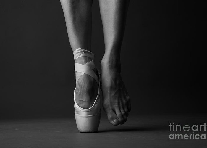 Studio Greeting Card featuring the photograph Standing On Tip Toe, Monochrome by Anna Jurkovska