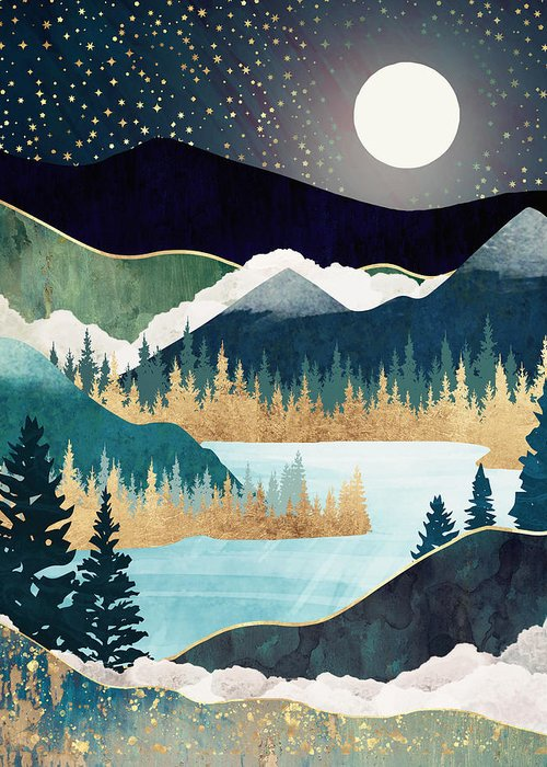 Stars Greeting Card featuring the digital art Star Lake by Spacefrog Designs