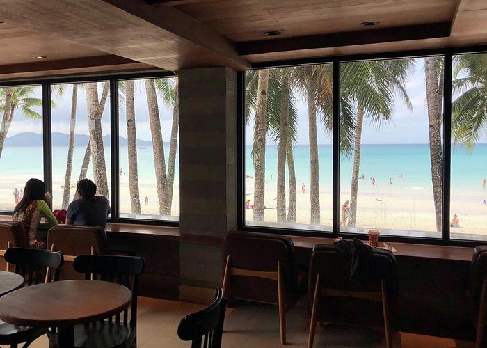 Coffee Greeting Card featuring the photograph Starbucks In Boracay Island by Nakayosisan Wld