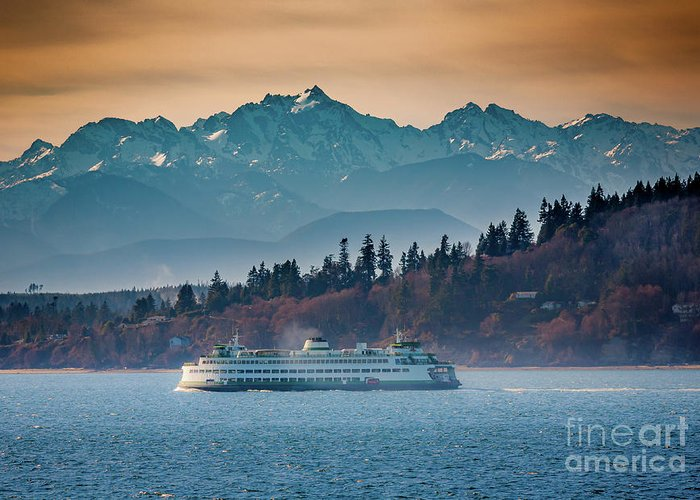 Seattle Greeting Card featuring the photograph State Ferry And The Olympics by Inge Johnsson