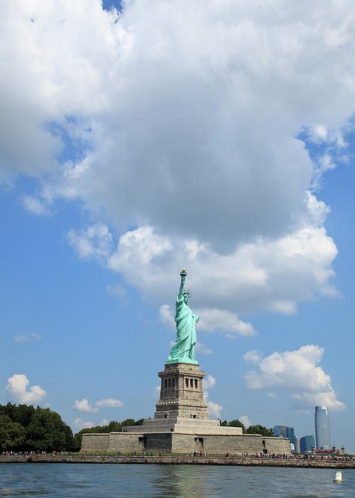 Democracy Greeting Card featuring the photograph Statue Of Liberty In Upper New York Bay by Alvis Upitis