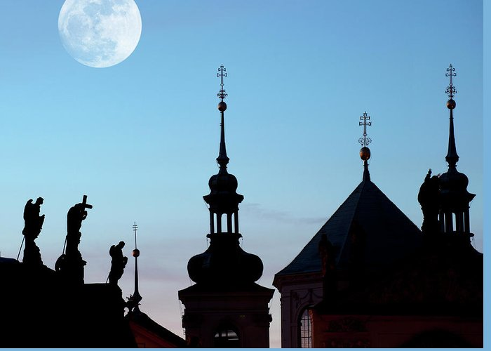Statue Greeting Card featuring the photograph Statues And Spires In Silhouette, Prague by Shanna Baker