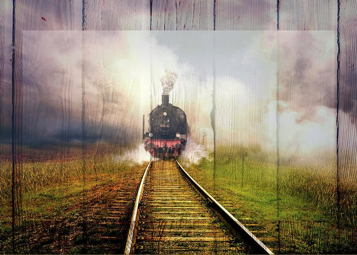 Carolina Greeting Card featuring the digital art Steaming Down The Tracks Wood Border by Debra and Dave Vanderlaan