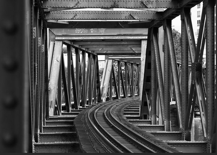 Railroad Track Greeting Card featuring the photograph Steel Girder Railway Bridge by Peterjseager