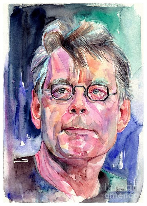 Stephen King Greeting Card featuring the painting Stephen King Portrait by Suzann Sines