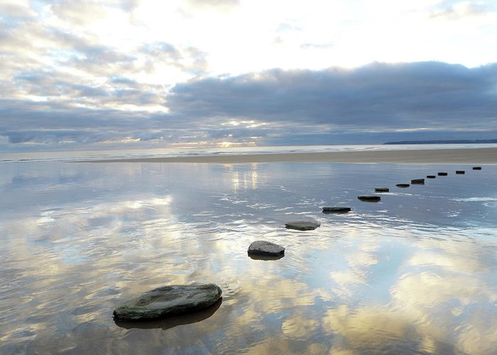 Tranquility Greeting Card featuring the photograph Stepping Stones Over Water With Sky by Peter Cade