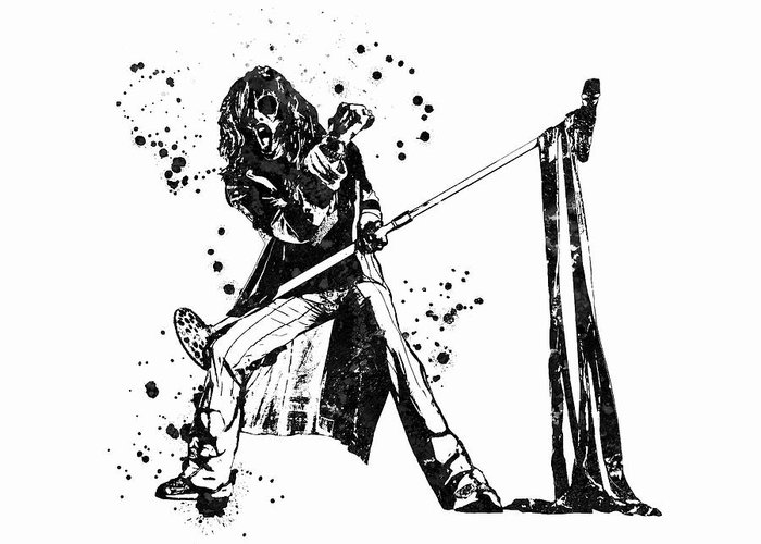 Steven Tyler Greeting Card featuring the painting Steven Tyler Microphone Aerosmith Black And White Watercolor 01 by JESP Art and Decor