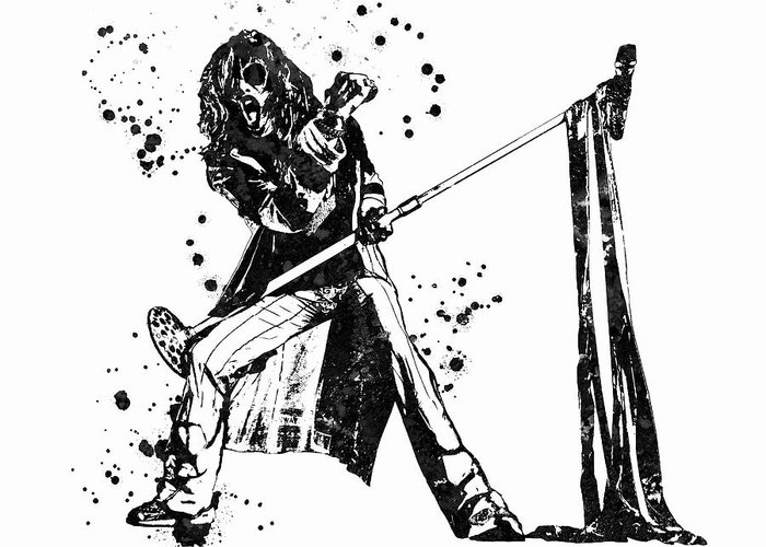 Steven Tyler Greeting Card featuring the painting Steven Tyler Microphone Aerosmith Black And White Watercolor 04 by JESP Art and Decor