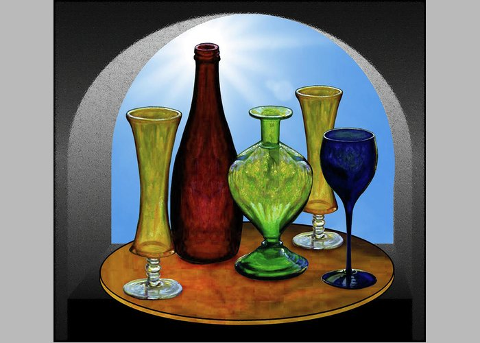 Still Life Greeting Card featuring the painting Still Life with Bottles by Hugo Heikenwaelder