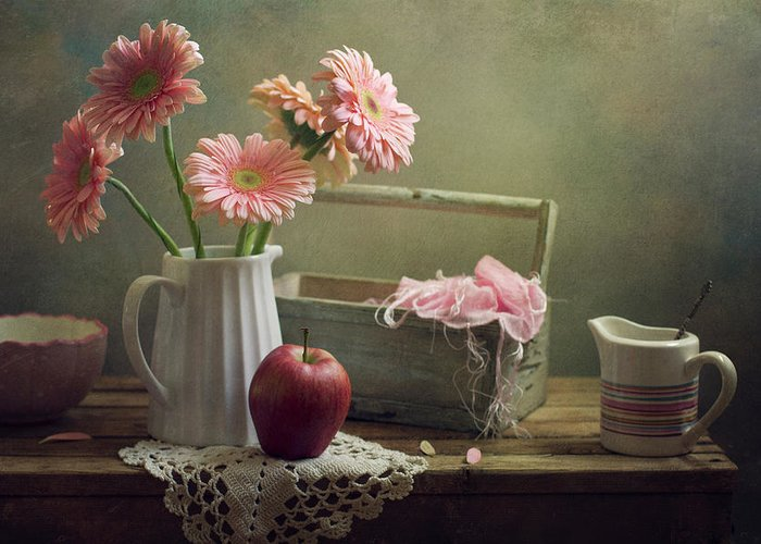 Spoon Greeting Card featuring the photograph Still Life With Pink Gerberas And Red by Copyright Anna Nemoy(xaomena)
