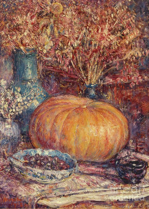 Still Life With Pumpkin Greeting Card featuring the painting Still Life With Pumpkin by George Morren