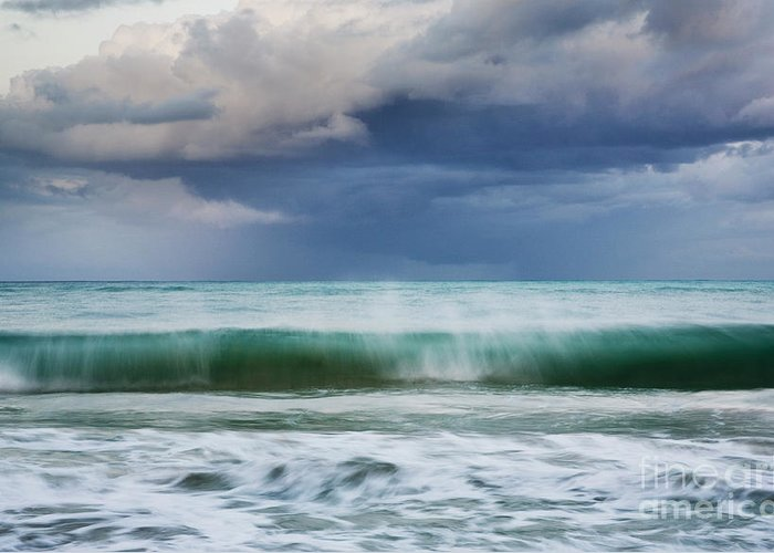 Hawaii Greeting Card featuring the photograph Stormy Ocean Wave - Kailua, Oahu by Charmian Vistaunet