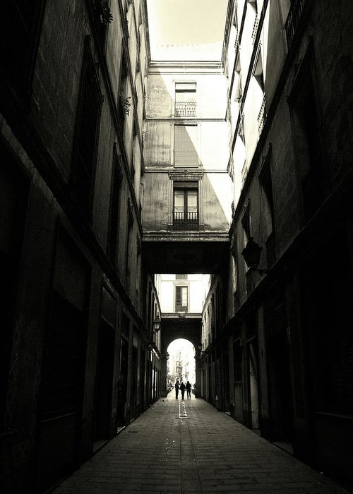Arch Greeting Card featuring the photograph Street In Barcelona by Maria Fernandez